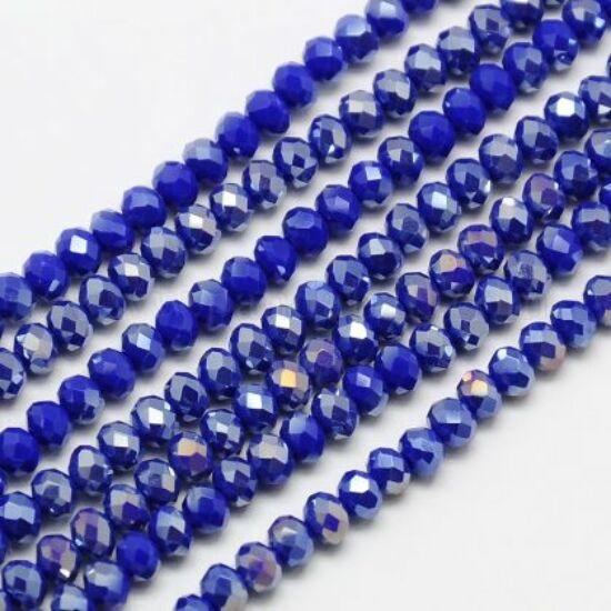 Üveggyöngy - 4x3mm – kék AB színben - fánk alakú csiszolt