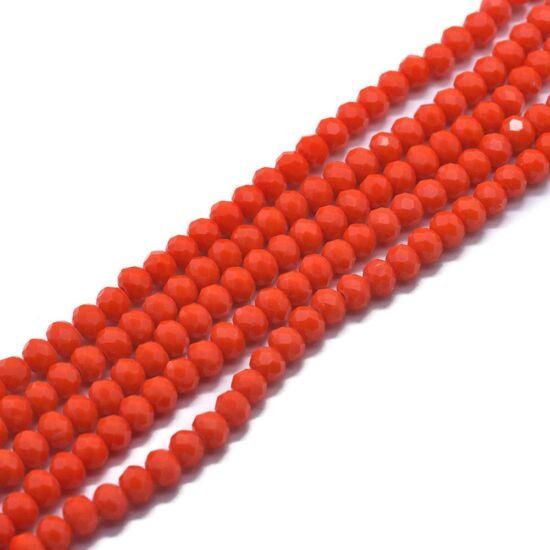 Üveggyöngy - 4x3mm - narancsos piros színben - fánk alakú - csiszolt