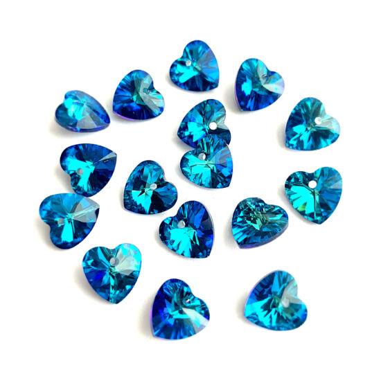 Kristály - 10x10mm - szív - BERMUDA BLUE