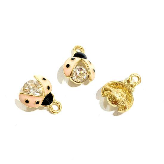Medál - katica - 15x11,5mm – halvány arany, rózsaszín, fekete, kristály színben - ólom és Kadmiummentes!