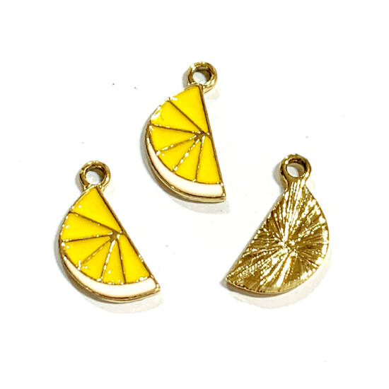Medál - citrom - 17,5x10,5mm - halvány arany, sárga és narancs színben