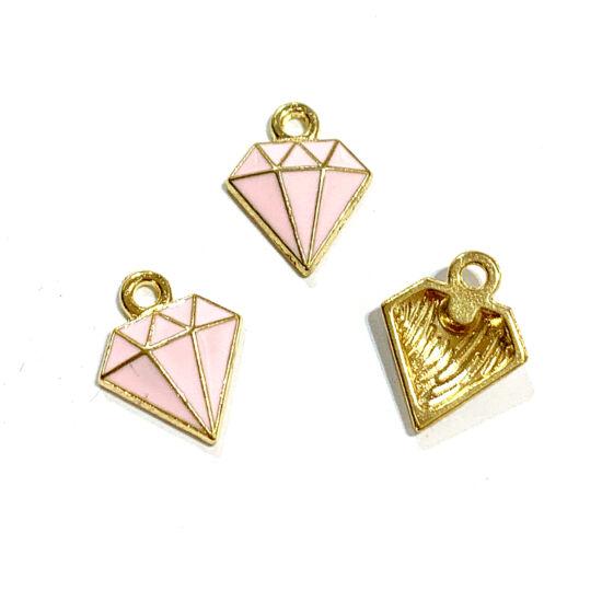 Medál - gyémánt - 15x11mm - halvány arany, rózsaszín színben