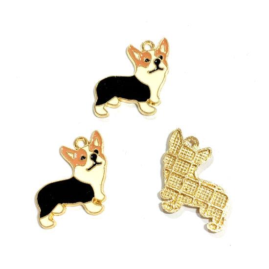 Medál - corgi kutya - 23x23mm - halvány arany - peru barna, fekete - fehér színben - Nikkelmentes!