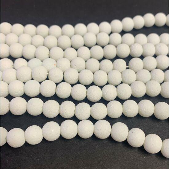 Üveggyöngy - 8mm - láva utánzat - fehér színben