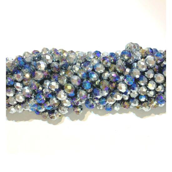 Üveggyöngy - 6x4mm - félig áttetsző sötétkék - félig ezüst - fánk alakú gyöngy