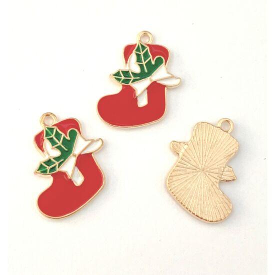 Medál - karácsonyi zokni - piros és halvány arany színben - ólom és kadmiummentes