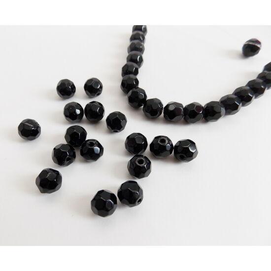 8mm Fekete színű, Kínai csiszolt üveg gyöngy