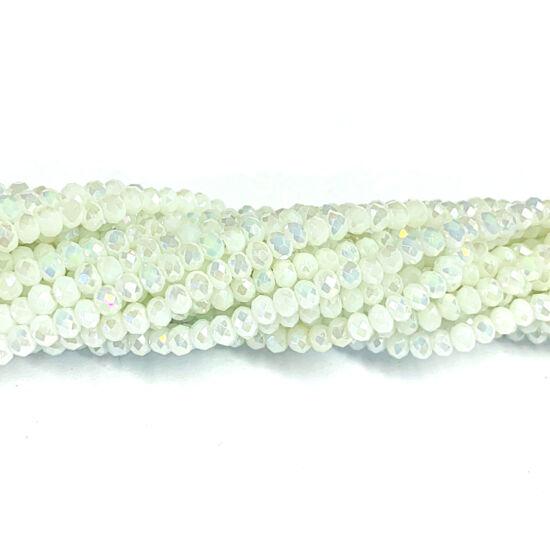 Üveggyöngy - 3x2mm – Gyöngyházfényű - fehér színben - fánk alakú csiszolt