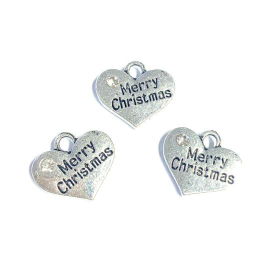 Medál - szív – Merry Christmas felirattal – kristály strasszal – antik ezüst színben
