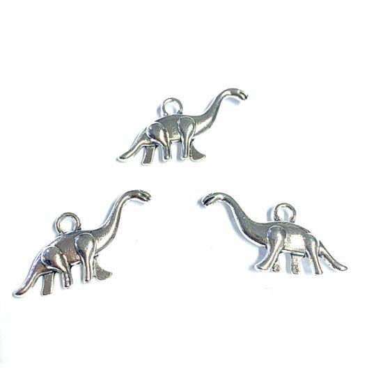 Medál - dinoszaurusz - antik ezüst színben