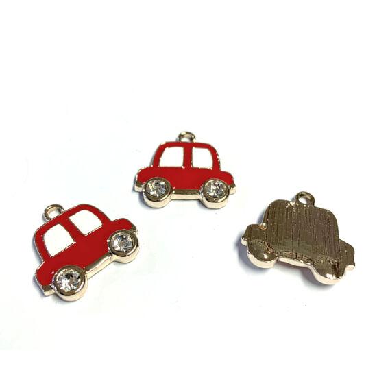 Medál - autó - piros színben - kristály strasszos - ötvözött zománc - halvány arany