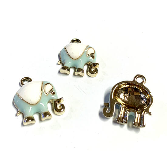 Medál - elefánt - ötvözött zománc - halvány arany