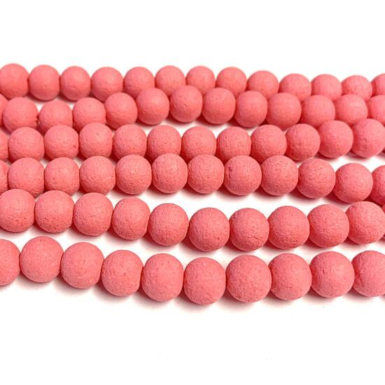 Üveggyöngy - 8mm - láva utánzat - rózsaszínes lazac színben