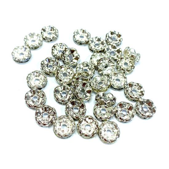 Rondella - kristály - strasszos - 8mm - ezüst színű
