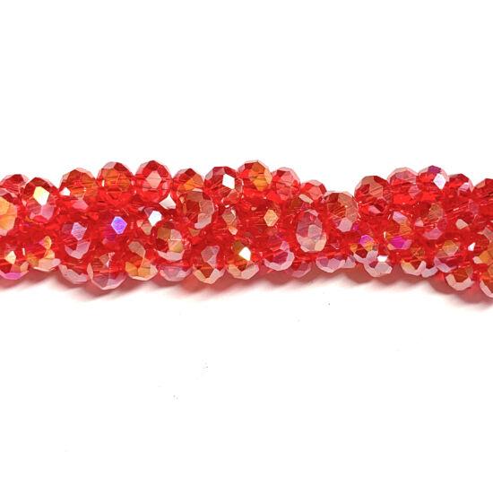 Üveggyöngy - 6x4mm – Piros AB - fánk alakú gyöngy