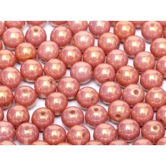 8mm LUSTER CHALK WHITE RED LUSTER színű, Cseh Préselt Golyó gyöngy