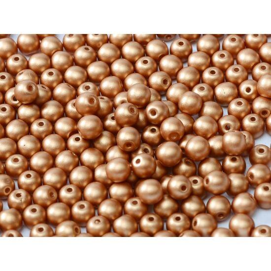 4mm Metál Réz színű, Cseh Préselt Golyó alakú gyöngy