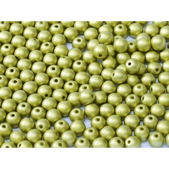 4mm Metál Zöldalma színű, Cseh Préselt Golyó alakú gyöngy