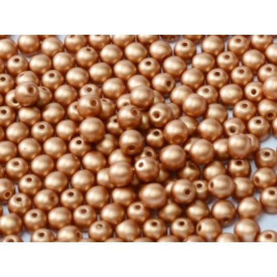 6mm Matt Metál Réz színű, Cseh Préselt Golyó alakú gyöngy