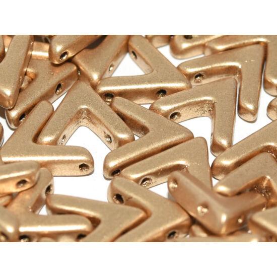 Ava - Cseh kézzel préselt 3 lyukú gyöngy - 10x4mm - Aztec Gold - 01710