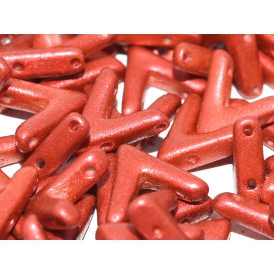 Ava - Cseh kézzel préselt 3 lyukú gyöngy - 10x4mm - Lava Red - 01890