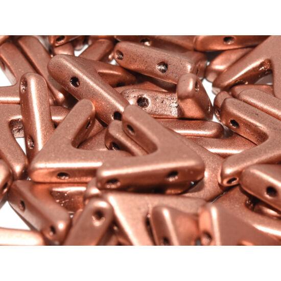 Ava - Cseh kézzel préselt 3 lyukú gyöngy - 10x4mm - Vintage Copper - 01770