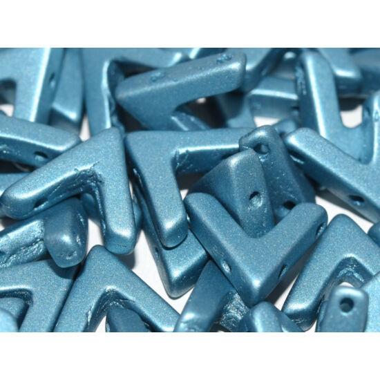 Ava - Cseh kézzel préselt 3 lyukú gyöngy - 10x4mm - labaster Metallic Aqua - 02010/29436