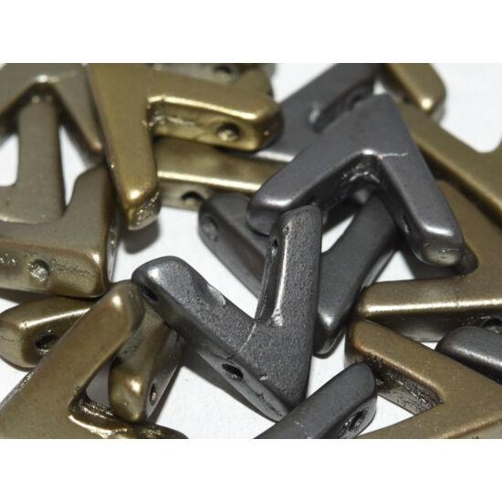 Ava - Cseh kézzel préselt 3 lyukú gyöngy - 10x4mm - Zinc Iris