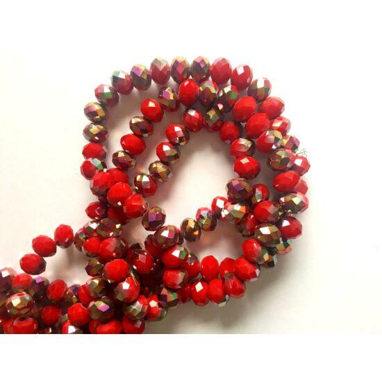8x6mm Félig Piros, félig galvanizált bevonatú, csiszolt fánk alakú gyöngy