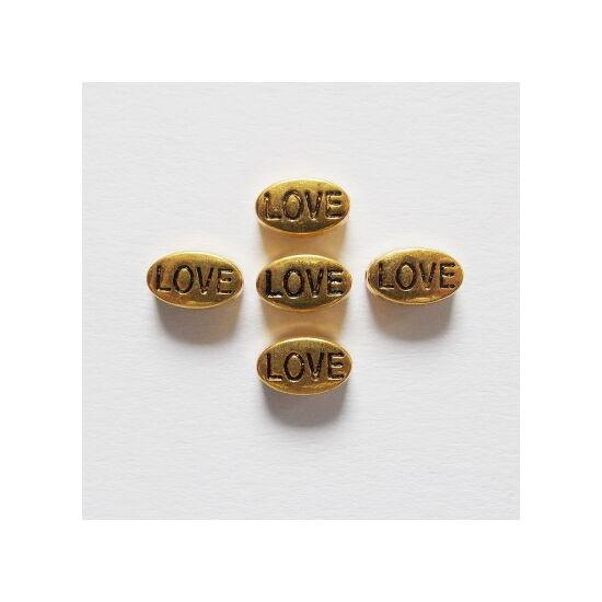 LOVE feliratú, ovális köztes gyöngy, antik arany színben