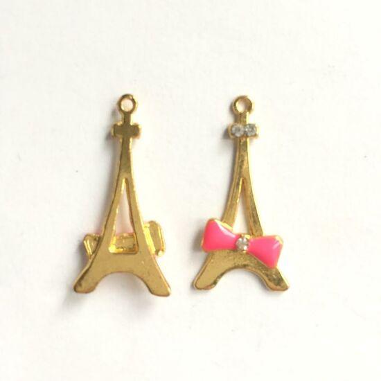 Arany színű Eiffel torony alakú medál, pink színű masnival