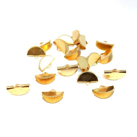 Szalagvég - félkör alakban - 12,5x20x7mm - arany színben