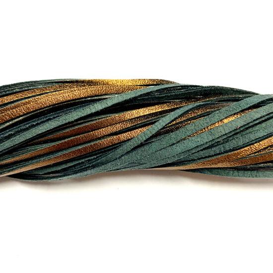 Bőrszál - színű hasított - barna - fényes sötét arany - szürkés zöld