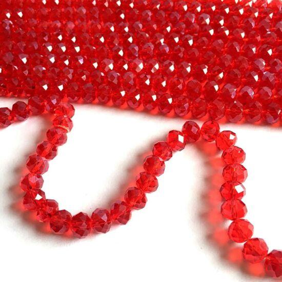 Üveggyöngy - áttetsző - piros - csiszolt - fánk