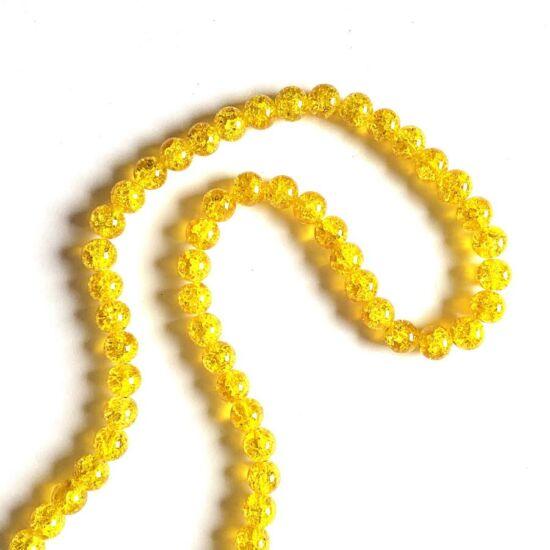 Üveggyöngy- 10mm Sárga színű- robbantott