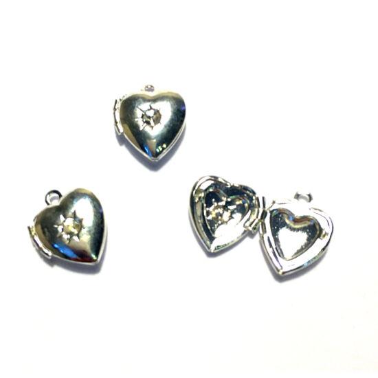 Medál - szív - nyitható - fényképtartós - platina ezüst színben