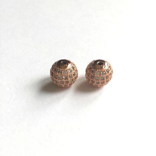 Cirkón kővel díszített- gömb alakú köztes gyöngy, rózsaarany színű foglalatban
