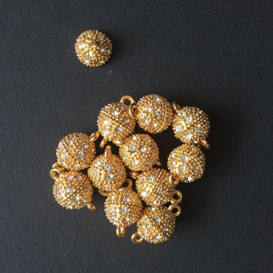 Arany színű, crystal strasszos mágneskapocs
