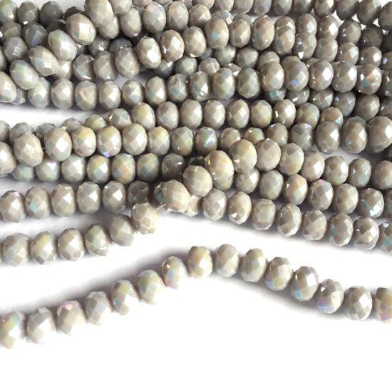 Fánk alakú üveg gyöngy- AB Halvány Szürke