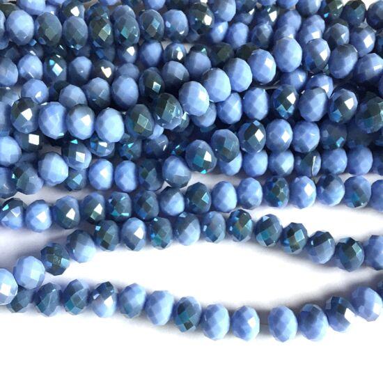Fánk alakú üveg gyöngy- AB Halvány Szürke Levendula/Kék