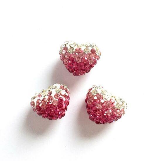 Szív shamballa gyöngy, pink-rózsaszín-kristály színben