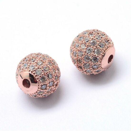 Köztes gyöngy - Cirkón - 6mm - gömb alakú - rózsaarany színű foglalatban
