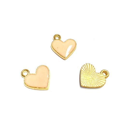 Medál - szív - barack és arany színben