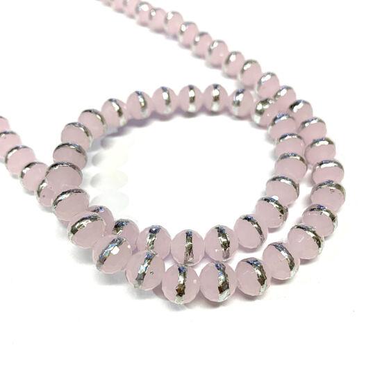 Üveggyöngy - 8x7mm - rózsaszín színben - ezüst díszítéssel