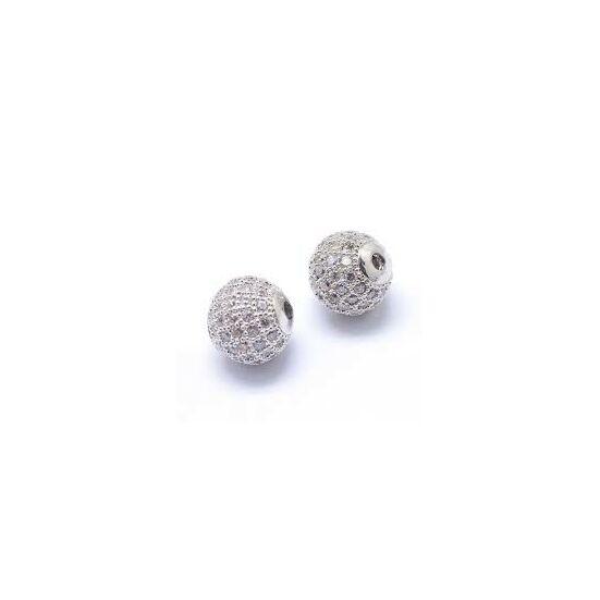Köztes gyöngy - Cirkón - 6mm - gömb alakú - ezüst színű foglalatban