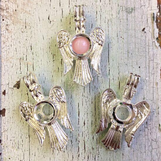 Angyalhívó- angyal alakban- nyitható- ezüst színben