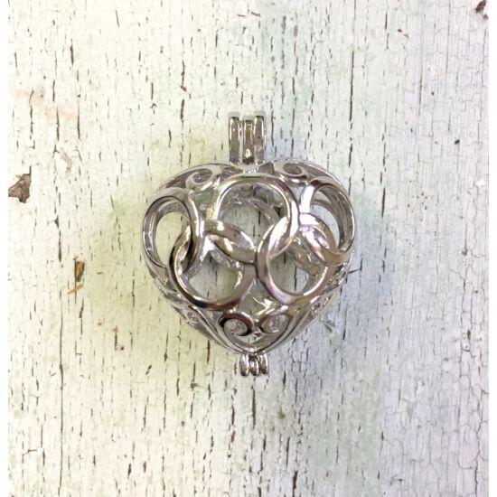 Angyalhívó- szív alakban- nyitható- antik ezüst színben
