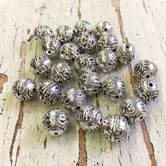 Köztes gyöngy- Inda mintával- antik ezüst színben - 12mm NIKKELMENTES!