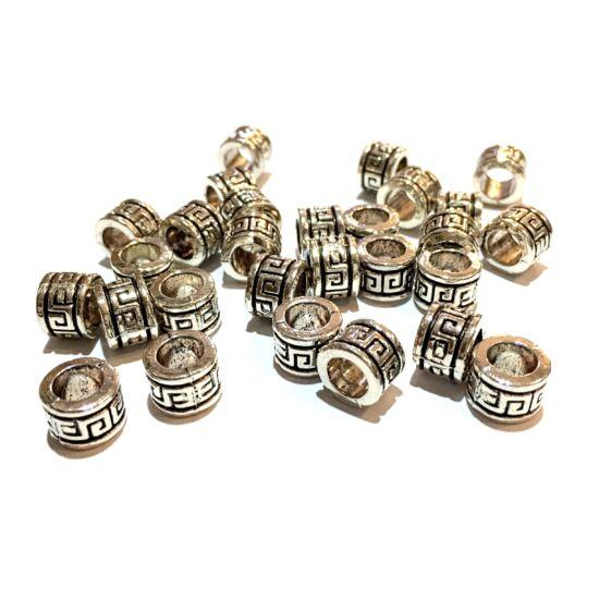 Köztes gyöngy- Henger alakú- Leander motívummal- antik ezüst színben