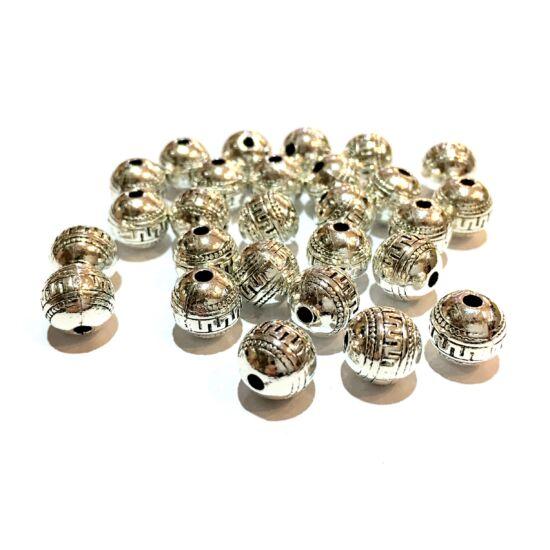Köztes gyöngy- Gömb - Görög motívummal- antik ezüst színben